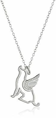 """Sterling Silver Diamond """"All Dogs Go To Heaven"""" Pendant Necklace 18"""" New"""