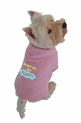 Ruff Ruff and Meow Medium Dog Hoodie Im Not Fat Just Fluffy Pink New