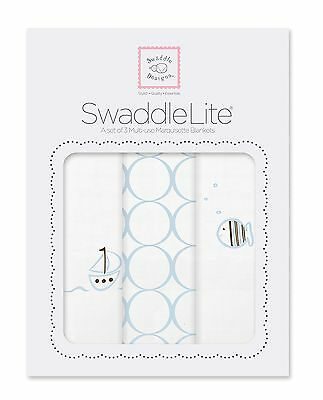 SwaddleDesigns SwaddleLite Boats and Fish Lite (Set of 3 in Blue) New