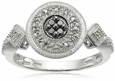Sterling Silver Black and White Diamond Round Ring (1/10 cttw I-J Color I... New