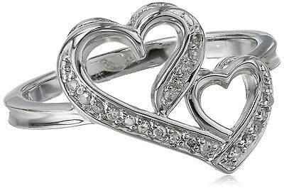 Sterling Silver 0.10 ct. t.w. Double Heart Diamond Ring Size 8 New
