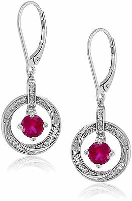Sterling Silver Diamond (0.10 cttw I-J Color I3 Clarity) Round Drop Earri... New