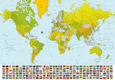 Ideal Dcor DM280 Map of the World 144-Inch-by-100-Inch 8-panel mural New