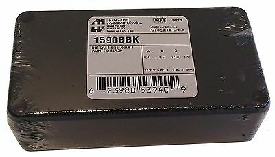 "Hammond 1590BBK Black Diecast Aluminum Enclosure -- Inches (4.39"" x 2.34""... New"