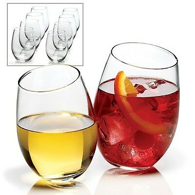 RICSB Anchor Hocking 8-Piece Stemless Wine Glass Set clear New