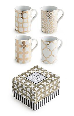 Rosanna 94936 Luxe Moderne Mugs White/Gold Set of 4 New