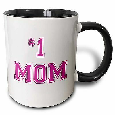 3dRose mug_151622_4 #1 Mom Number One Mom in Hot Pink Large Print Text fo... New