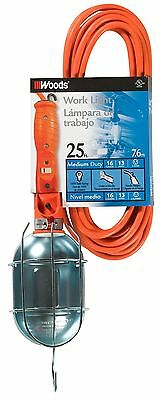 Woods 691 16/3-Gauge SJTW Trouble Light with Metal Guard and Outlet Orang... New