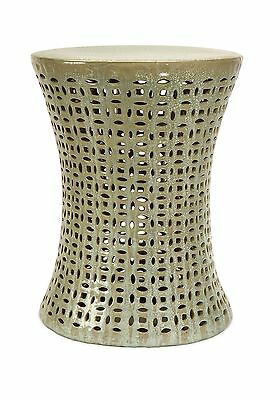 IMAX Moers Cutwork Garden Stool Crme/Metallic New