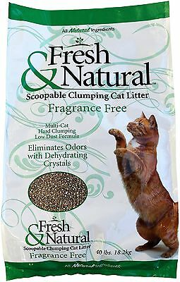 Fresh & Natural Scoop-Able Clay Cat Litter 40-Pound Fragrance Free New