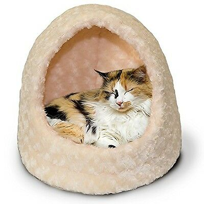 Furhaven Pet Products Nap Pet Bed Ultra Plush Hood Pet Bed Cream New
