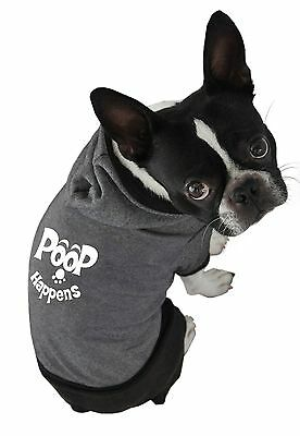 Ruff Ruff and Meow Large Dog Hoodie Poop Happens Black New