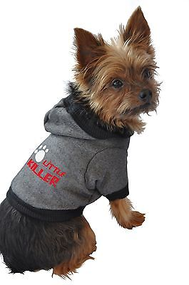 Ruff Ruff and Meow Large Dog Hoodie Little Killer Black New