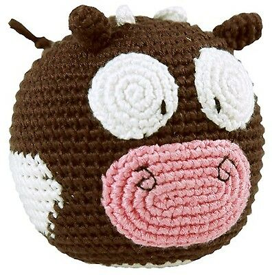 Dandelion Hand Crocheted Roly Poly Rattle Ball Cow New