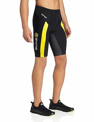 SKINS Men's TRI400 Compression Shorts Black/Yellow Small New