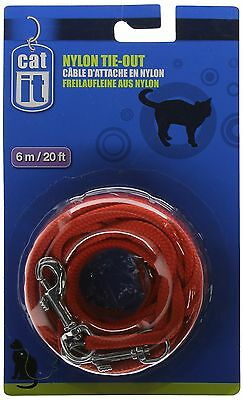 Catit Nylon Cat Tie-out 20-Feet Red New