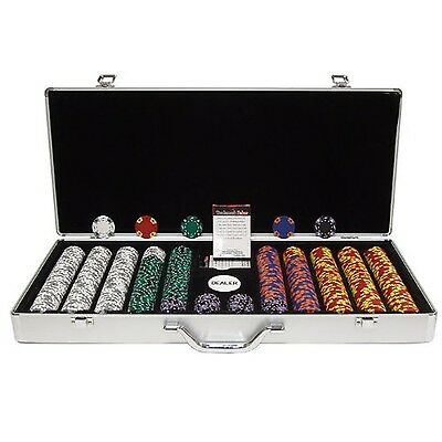Trademark Poker 650 Tri-Color Ace/King Chip Executive Aluminum Case Silve... New