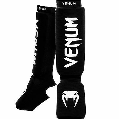 Venum 0480-Black Kontact Shin and Instep Guards Black New