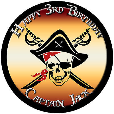 Pirate Edible Icing Cake Image Personalised Birthday Party Topper