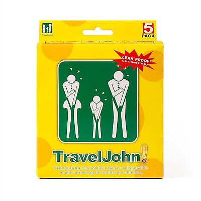 TRAVEL JOHN Reach Global Industries Disposable 5-Pack Vomit/Urine Bag for... New