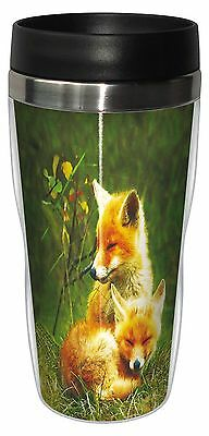 Tree-Free Greetings 78123 Menno Schaefer Foxes Relaxing Sip 'N Go Stainle... New