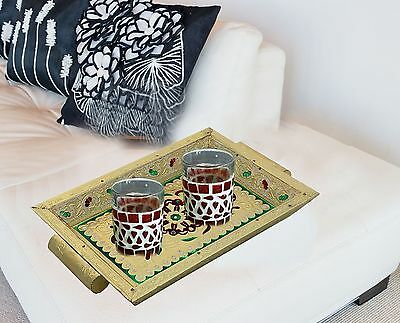 Indiabigshop Antique Handcrafted Serving Tray with Handle Decorative Wood... New