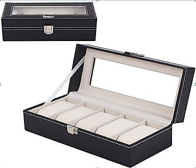 Revesun Black Watch Case Storage Display Box with Glass Top Holds 5 Watch... New