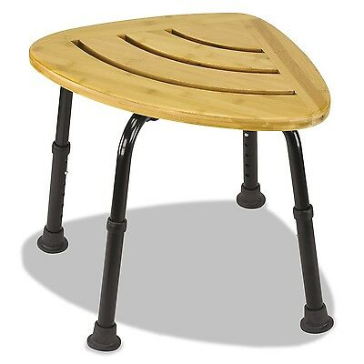 DMI Corner Bamboo Spa Bench and Shower Stool New
