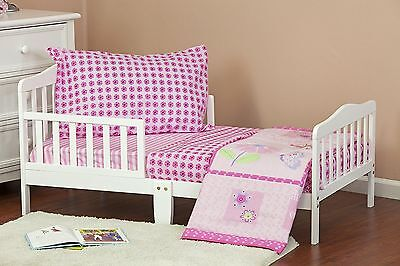 Dream On Me Pink Butterfly and Flower 4-Piece Toddler Bedding Set Pastel New