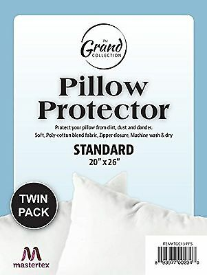 Zippered Pillow Protector - Set of 2 - Poly/Cotton - Standard Size New