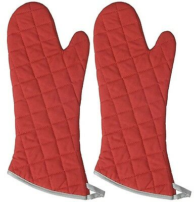 Now Designs 545102a 17-Inch Flameguard Oven Mitt Set of Two Red New