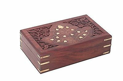 Wooden JEwelry Box Inlay & Carving Work 7in New