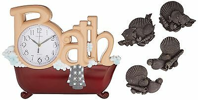 New Haven Bath Clock with Four Shells New