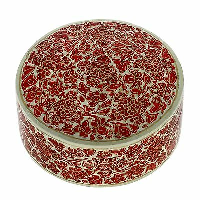 Handmade Paper Mache Round Gift Box Red Floral Dcor 6x6x2.5 Inches New