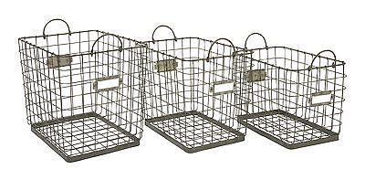 IMAX Set of 3 Newbridge Wire Storage Baskets New
