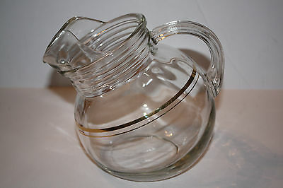 Vintage Glass Ball Juice Pitcher Gold Trimmed Pinch Lip Tilted Style