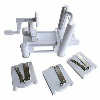 BenWas Cuisine Tri-Blade Vegetable and Fruit Spiralizer with Slicer Chipp... New