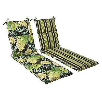 Pillow Perfect Indoor/Outdoor Green/Brown Tropical/Striped Reversible Cha... New