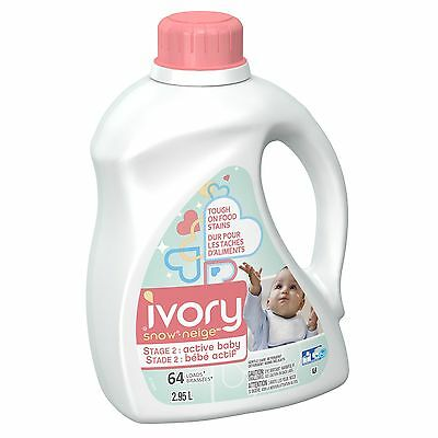 Ivory Snow Stage 2: Active Baby Liquid Detergent (HEC): 64 loads 2.95L New