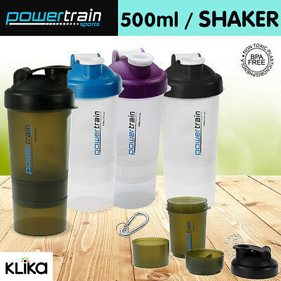 Powertrain Protein Supplement Drink Bottle Sports Mixer Shaker Ball Smartshake