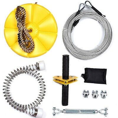 Backyard Zip Line Kits With Steel Cable,Trolley,Bungee Brake and Seat Skull USA