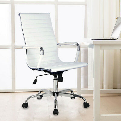 Ergonomic Office Chair PU Leather High Back Executive Computer Desk Home White
