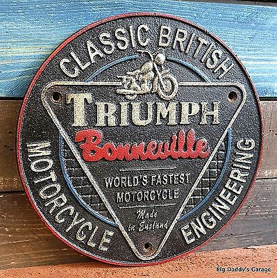 Triumph Bonneville Cast Iron Plaque Antique VTG Finish Man Cave Bar Garage Shop