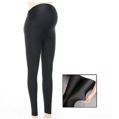 Overbumped Shiny Leggings Skinny Trousers Pants Pregnancy Maternity S/M/L/XL