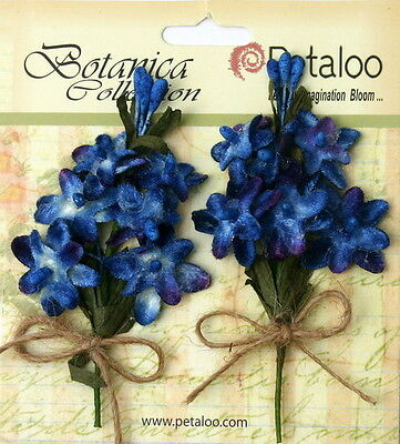 LILACS Velvet Fabric ROYAL BLUE 2Pull Apart 12Mini Flowers 15-20mm&Buds Petal V1