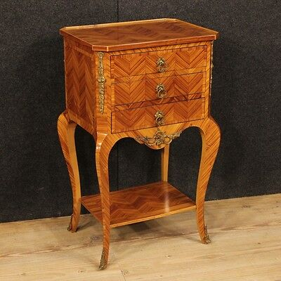 Low bedside table french wood rosewood bronze golden antique style 900 furniture