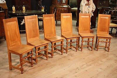 SPECIAL GROUP 6 CHAIRS CARVED OAK RUSTIC PERIOD '900 (H 100 cm) PARINO