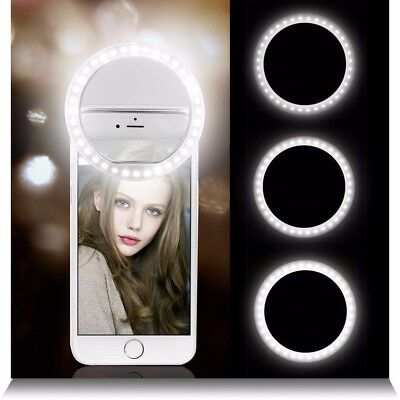 Rechargeable Selfie LED Ring Flash Light Clip Camera For Smart Mobile Iphone 6 7