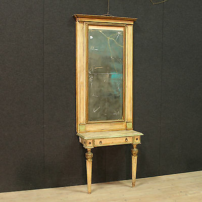 ANTIQUE CONSOLE MIRROR WOOD PAINT LACQUERED TORINO PERIOD LOUIS XVI H 243 cm