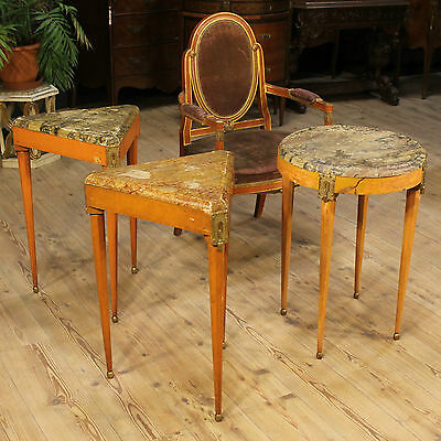 Set Three Coffee Tables Lacquered Imitation Marble Armchair France Period First